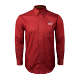 Cardinal Twill Button Down Long Sleeve-Official Logo