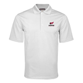 White Mini Stripe Polo-Official Logo