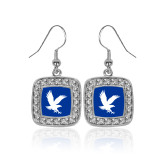 Crystal Studded Square Pendant Silver Dangle Earrings-Eagle