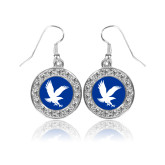 Crystal Studded Round Pendant Silver Dangle Earrings-Eagle