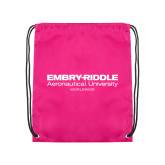 Pink Drawstring Backpack-Embry Riddle Worldwide