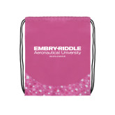 Nylon Pink Bubble Patterned Drawstring Backpack-Embry Riddle Worldwide