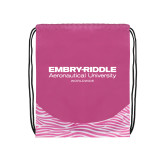 Nylon Zebra Pink/White Patterned Drawstring Backpack-Embry Riddle Worldwide