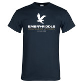 Navy T Shirt-Worldwide Stacked w/ Eagle
