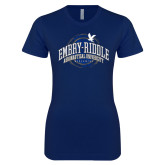 Next Level Ladies SoftStyle Junior Fitted Navy Tee-Arched Embry-Riddle Property Of