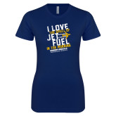 Next Level Ladies SoftStyle Junior Fitted Navy Tee-I Love The Smell of Jet Fuel In The Morning