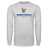 White Long Sleeve T Shirt-Worldwide Stacked w/ Eagle