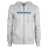 ENZA Ladies White Fleece Full Zip Hoodie-Embry Riddle Aeronautical University