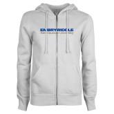 ENZA Ladies White Fleece Full Zip Hoodie-Embry Riddle Aeronautical University
