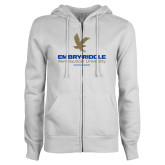 ENZA Ladies White Fleece Full Zip Hoodie-Worldwide Stacked w/ Eagle