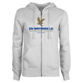 ENZA Ladies White Fleece Full Zip Hoodie-Worldwide Stacked w/ Eagle