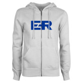 ENZA Ladies White Fleece Full Zip Hoodie-ER
