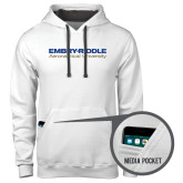 Contemporary Sofspun White Hoodie-Embry Riddle Aeronautical University