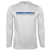 Performance White Longsleeve Shirt-Embry Riddle Aeronautical University
