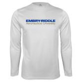 Syntrel Performance White Longsleeve Shirt-Embry Riddle Aeronautical University
