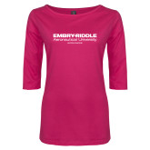 Ladies Dark Fuchsia Perfect Weight 3/4 Sleeve Tee-Embry Riddle Worldwide