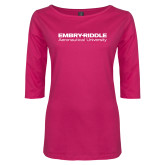 Ladies Dark Fuchsia Perfect Weight 3/4 Sleeve Tee-Embry Riddle Aeronautical University