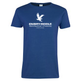 Ladies Royal T Shirt-Worldwide Stacked w/ Eagle Distressed