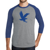 Grey/Royal Heather Tri Blend Baseball Raglan-Eagle
