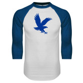 White/Royal Raglan Baseball T Shirt-Eagle