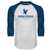 White/Royal Raglan Baseball T Shirt-Worldwide Stacked w/ Eagle Distressed