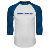 White/Royal Raglan Baseball T Shirt-Embry Riddle Worldwide