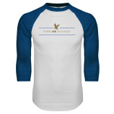 White/Royal Raglan Baseball T Shirt-Forever An Eagle