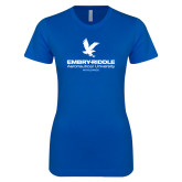 Next Level Ladies SoftStyle Junior Fitted Royal Tee-Worldwide Stacked w/ Eagle
