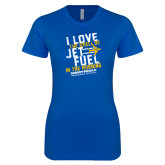 Next Level Ladies SoftStyle Junior Fitted Royal Tee-I Love The Smell of Jet Fuel In The Morning