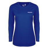 Ladies Syntrel Performance Royal Longsleeve Shirt-Embry Riddle Worldwide