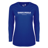 Ladies Syntrel Performance Royal Longsleeve Shirt-Embry Riddle Worldwide