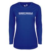 Ladies Syntrel Performance Royal Longsleeve Shirt-Embry Riddle Aeronautical University