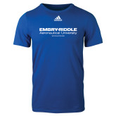Adidas Royal Logo T Shirt-Embry Riddle Worldwide