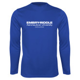 Performance Royal Longsleeve Shirt-Embry Riddle Worldwide