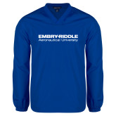 V Neck Royal Raglan Windshirt-Embry Riddle Aeronautical University