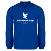 V Neck Royal Raglan Windshirt-Worldwide Stacked w/ Eagle
