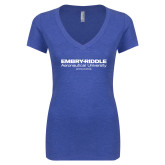 Next Level Ladies Vintage Royal Tri Blend V Neck Tee-Embry Riddle Worldwide