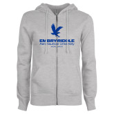 ENZA Ladies Grey Fleece Full Zip Hoodie-Worldwide Stacked w/ Eagle