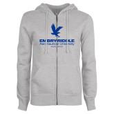 ENZA Ladies Grey Fleece Full Zip Hoodie-Worldwide Stacked w/ Eagle