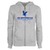 ENZA Ladies Grey Fleece Full Zip Hoodie-Worldwide Stacked w/ Eagle Distressed
