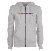 ENZA Ladies Grey Fleece Full Zip Hoodie-Embry Riddle Worldwide