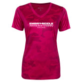 Ladies Pink Raspberry Camohex Performance Tee-Embry Riddle Worldwide