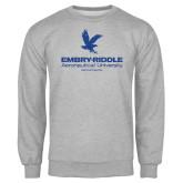Grey Fleece Crew-Worldwide Stacked w/ Eagle Distressed