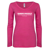 ENZA Ladies Hot Pink Long Sleeve V Neck Tee-Embry Riddle Worldwide