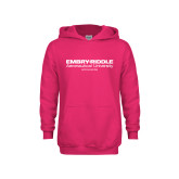 Youth Raspberry Fleece Hoodie-Embry Riddle Worldwide