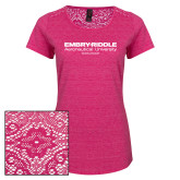 Ladies Dark Fuchsia Heather Lace Tee-Embry Riddle Worldwide