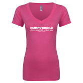 Next Level Ladies Junior Fit Deep V Pink Tee-Embry Riddle Worldwide