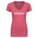 Next Level Ladies Vintage Pink Tri Blend V Neck Tee-Embry Riddle Worldwide