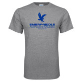 Grey T Shirt-Worldwide Stacked w/ Eagle Distressed