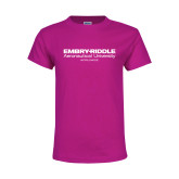 Youth Cyber Pink T Shirt-Embry Riddle Worldwide